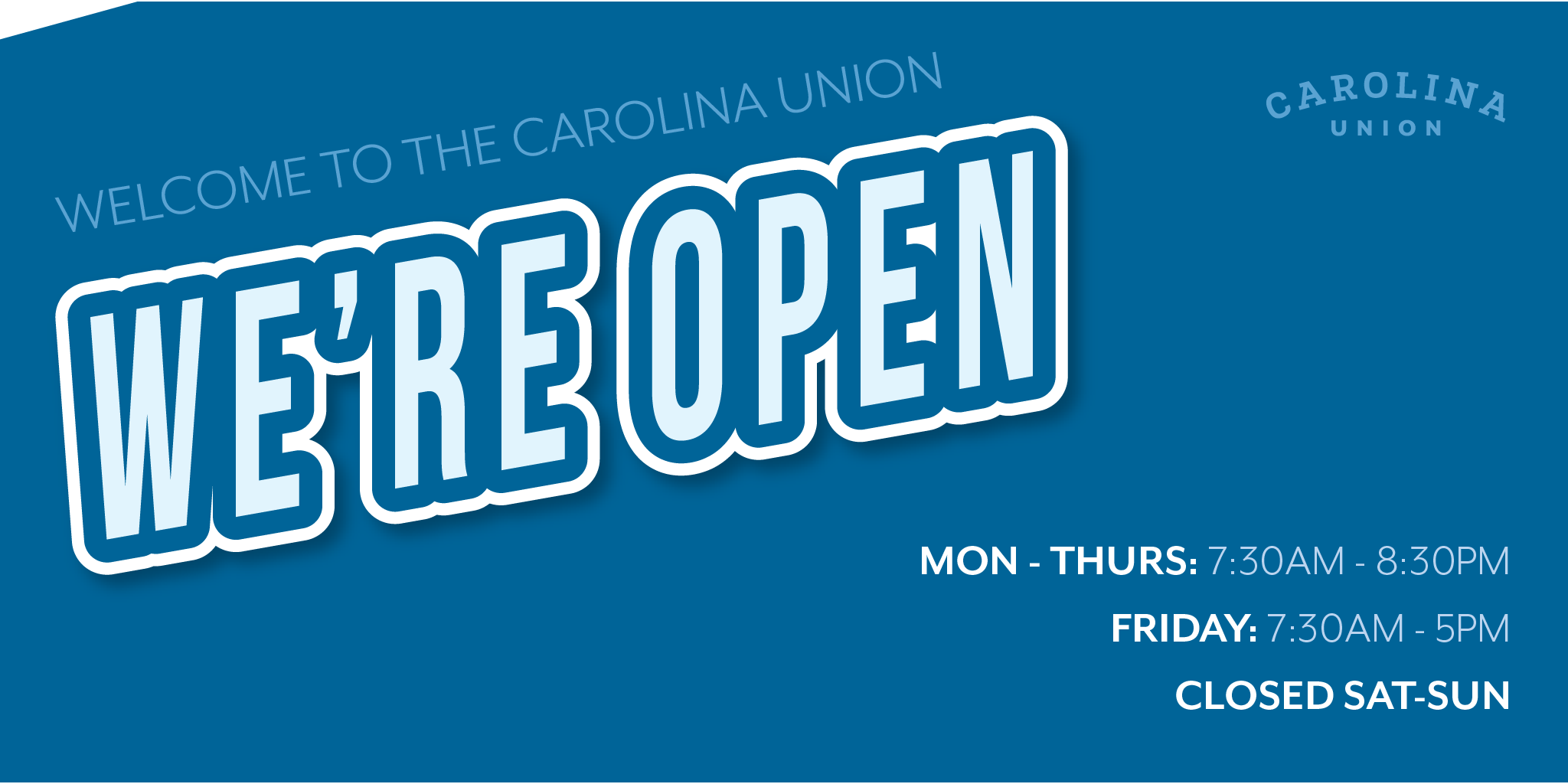 """Graphic that says """"We're Open"""""""
