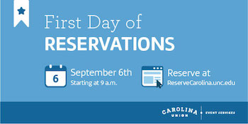 First day of reservations for Union spaces starts September 6th