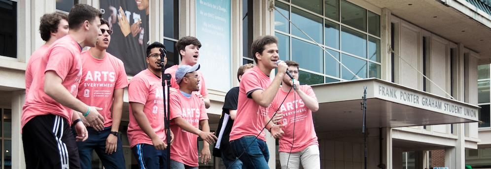 Students singing in front of Union