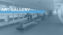 "Image link with text ""Art Gallery"" over an image of the Carolina Union's Art Gallery"