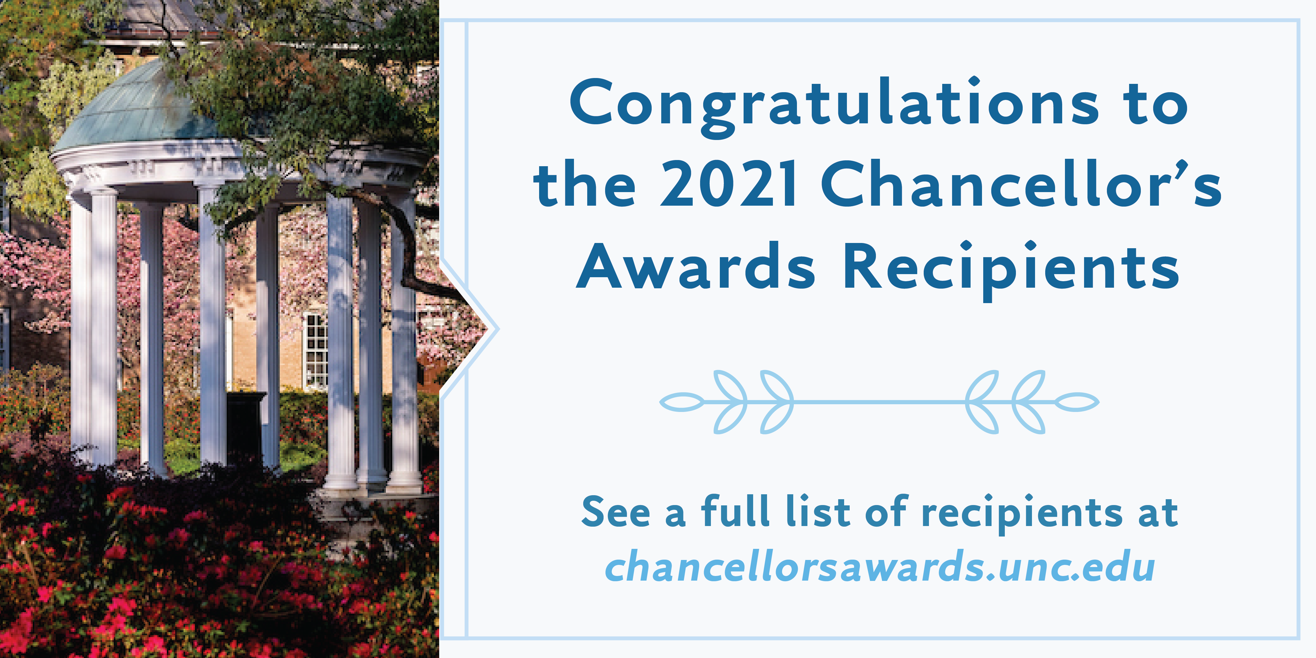 Photo of the Old Well and a congrats to the 2021 Chancellor's Awards recipient