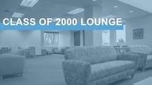 "Image link with text ""Class of 2000 Lounge"" over an image of the Carolina Union's Class of 2000 Lounge"