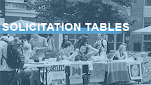 "Image link with the words ""solicitation tables"" over an image of students meeting at tables outside the Carolina Union"