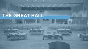 "Image link with text ""The Great Hall"" over an image of Carolina Union's Great Hall"