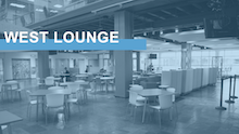 Image link with text West Lounge over an image of the Carolina union's West Lounge