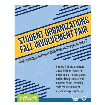 Flyer for the Student Organizations Involvement Fair
