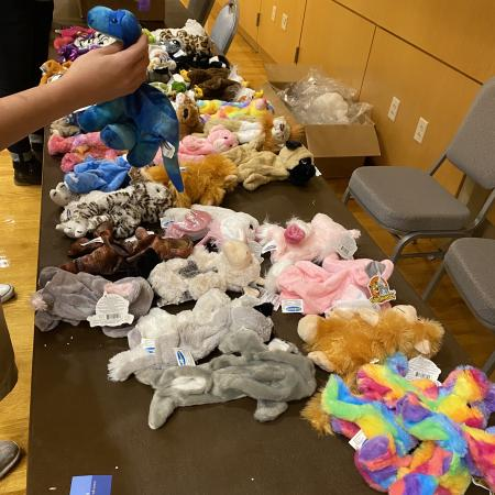 all stuffed animals lined up